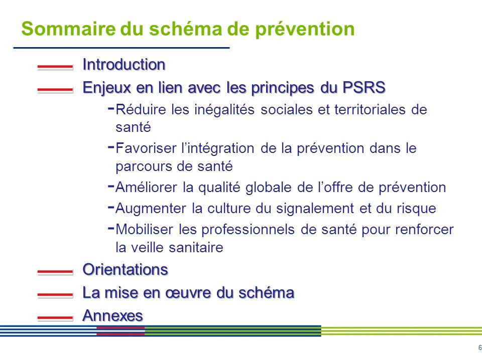 6 Sommaire du schéma de prévention Introduction Enjeux en lien avec les principes du PSRS - Réduire les inégalités sociales et territoriales de santé