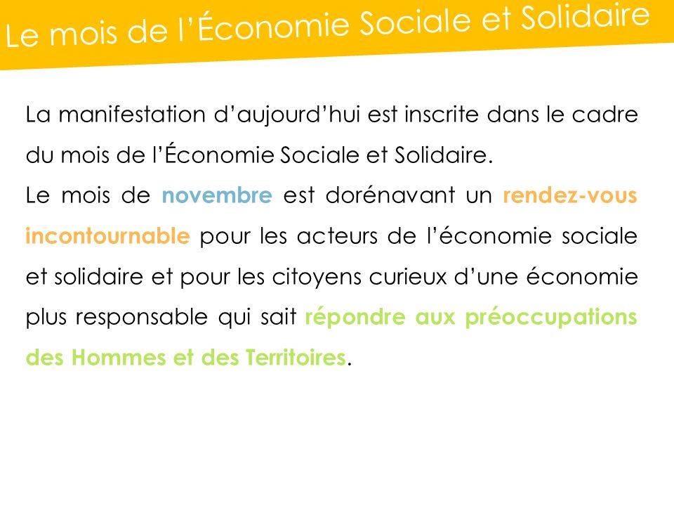 Le mois de lÉconomie Sociale et Solidaire La manifestation daujourdhui est inscrite dans le cadre du mois de lÉconomie Sociale et Solidaire.