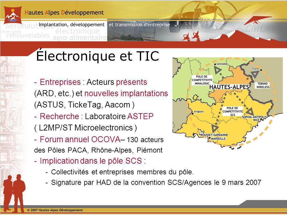 Électronique et TIC -Entreprises : Acteurs présents (ARD, etc.) et nouvelles implantations (ASTUS, TickeTag, Aacom ) -Recherche : Laboratoire ASTEP ( L2MP/ST Microelectronics ) -Forum annuel OCOVA– 130 acteurs des Pôles PACA, Rhône-Alpes, Piémont -Implication dans le pôle SCS : -Collectivités et entreprises membres du pôle.