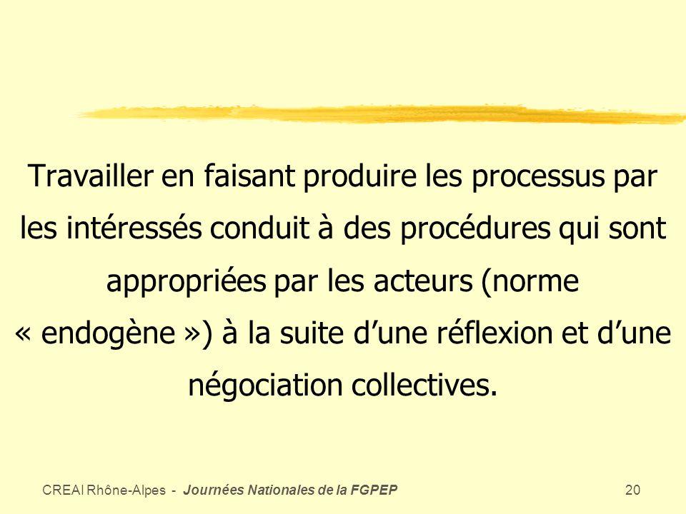 CREAI Rhône-Alpes - Journées Nationales de la FGPEP19 Définir les processus-clés du service rendu à lusager et analyser les différentes contributions (daccompagnement, de soin, administratives, etc…) à la réalisation de ces processus