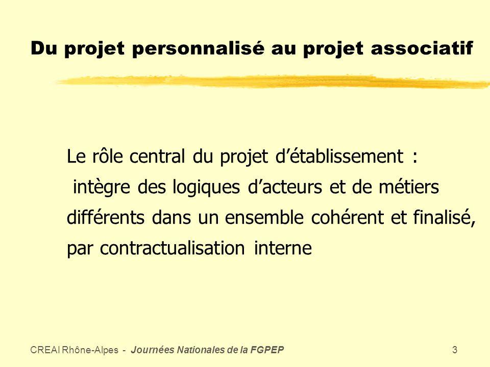 CREAI Rhône-Alpes - Journées Nationales de la FGPEP2 Du projet au contrat zOmniprésence de la notion de projet zLe contrat : stabilise et ajuste deux ou plusieurs projets différents
