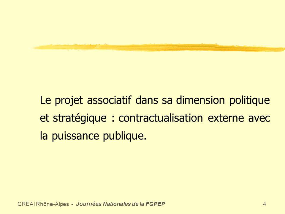 CREAI Rhône-Alpes - Journées Nationales de la FGPEP3 Du projet personnalisé au projet associatif Le rôle central du projet détablissement : intègre des logiques dacteurs et de métiers différents dans un ensemble cohérent et finalisé, par contractualisation interne