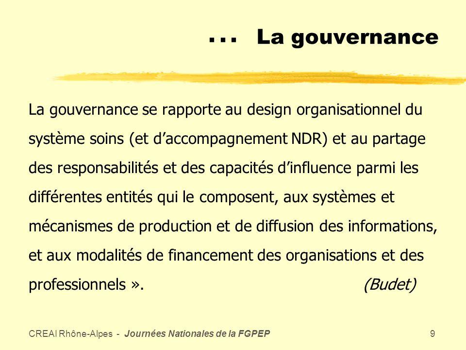 CREAI Rhône-Alpes - Journées Nationales de la FGPEP8 La gouvernance Ensemble des « systèmes et pratiques qui permettent aux acteurs de développer une représentation plausible de leur devenir, de connecter et dimplanter des stratégies efficaces de changements et de sappuyer sur des valeurs productrices de confiance et de solidarité.