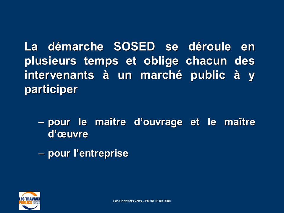 Les Chantiers Verts – Pau le 16.09.2008 La démarche SOSED se déroule en plusieurs temps et oblige chacun des intervenants à un marché public à y parti