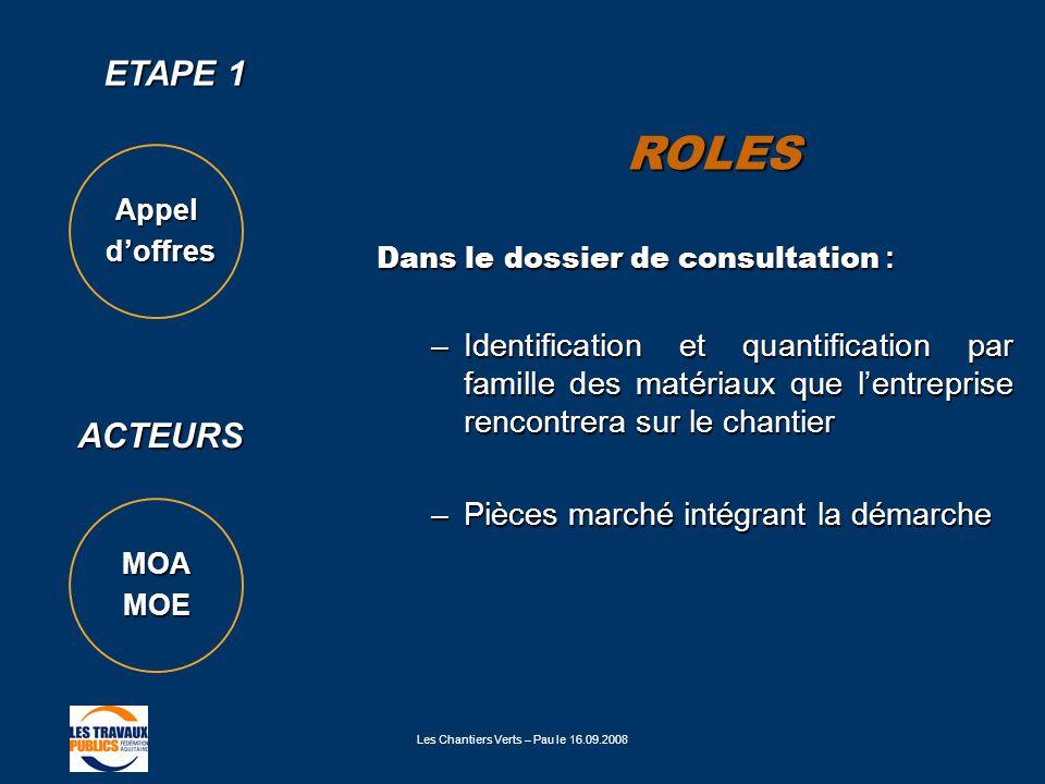 Les Chantiers Verts – Pau le 16.09.2008 ETAPE 1 ROLES ACTEURS Dans le dossier de consultation : –Identification et quantification par famille des maté