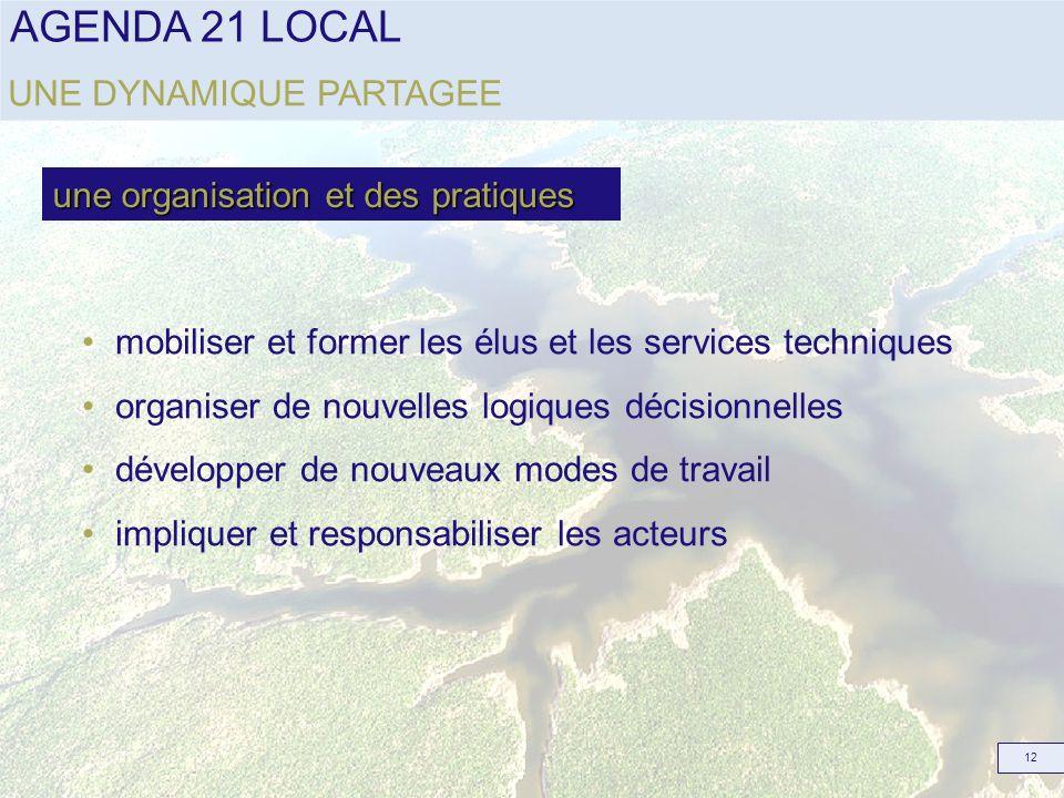 AGENDA 21 LOCAL 12 mobiliser et former les élus et les services techniques organiser de nouvelles logiques décisionnelles développer de nouveaux modes