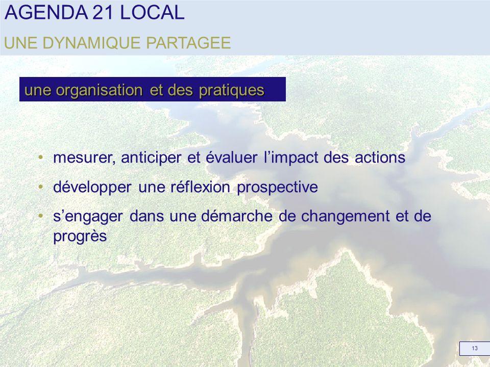 AGENDA 21 LOCAL 13 mesurer, anticiper et évaluer limpact des actions développer une réflexion prospective sengager dans une démarche de changement et