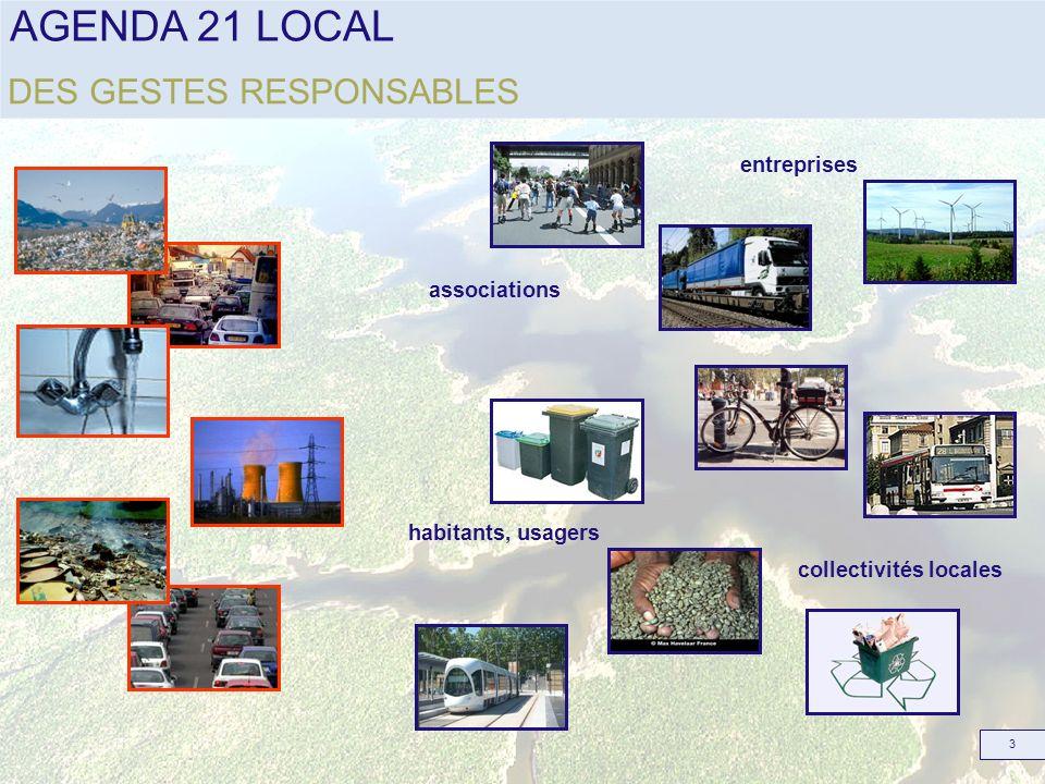 AGENDA 21 LOCAL 4 Le développement durable est un mode de développement qui répond aux besoins du présent tout en préservant les besoins des générations futures et plus particulièrement des besoins essentiels des plus démunis à qui il convient daccorder la plus grande priorité » ENVIRONNEMENT SOCIAL ECONOMIQUE DURABLE UN NOUVEAU MODE DE DEVELOPPEMENT ENVIRONNEMENT SOCIAL ECONOMIQUE DURABLE