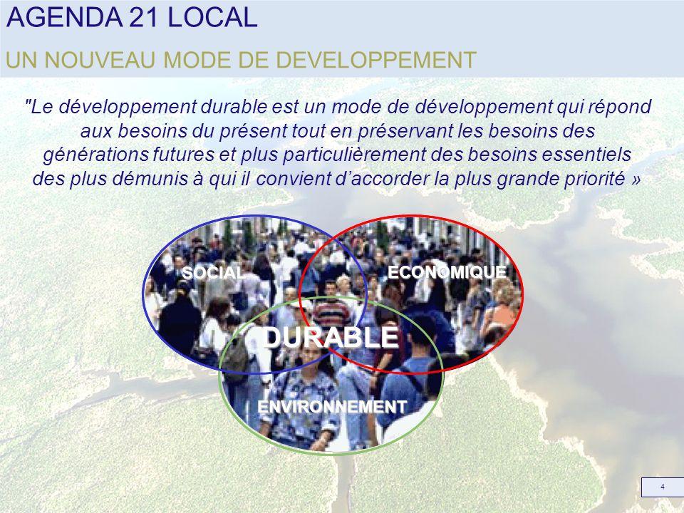 AGENDA 21 LOCAL 5 UN PROJET Avec pour ambition de : améliorer la qualité et la vie des populations économiser les ressources naturelles renforcer lattractivité des territoires organiser la participation de tous les acteurs du territoire