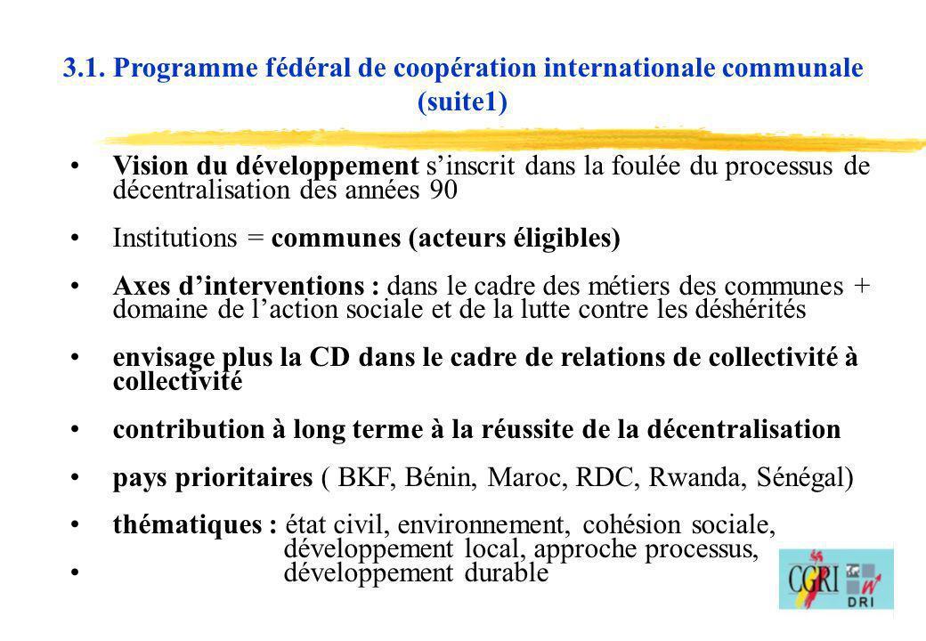 12 Vision du développement sinscrit dans la foulée du processus de décentralisation des années 90 Institutions = communes (acteurs éligibles) Axes din