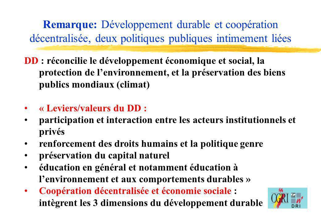 16 DD : réconcilie le développement économique et social, la protection de lenvironnement, et la préservation des biens publics mondiaux (climat) « Le