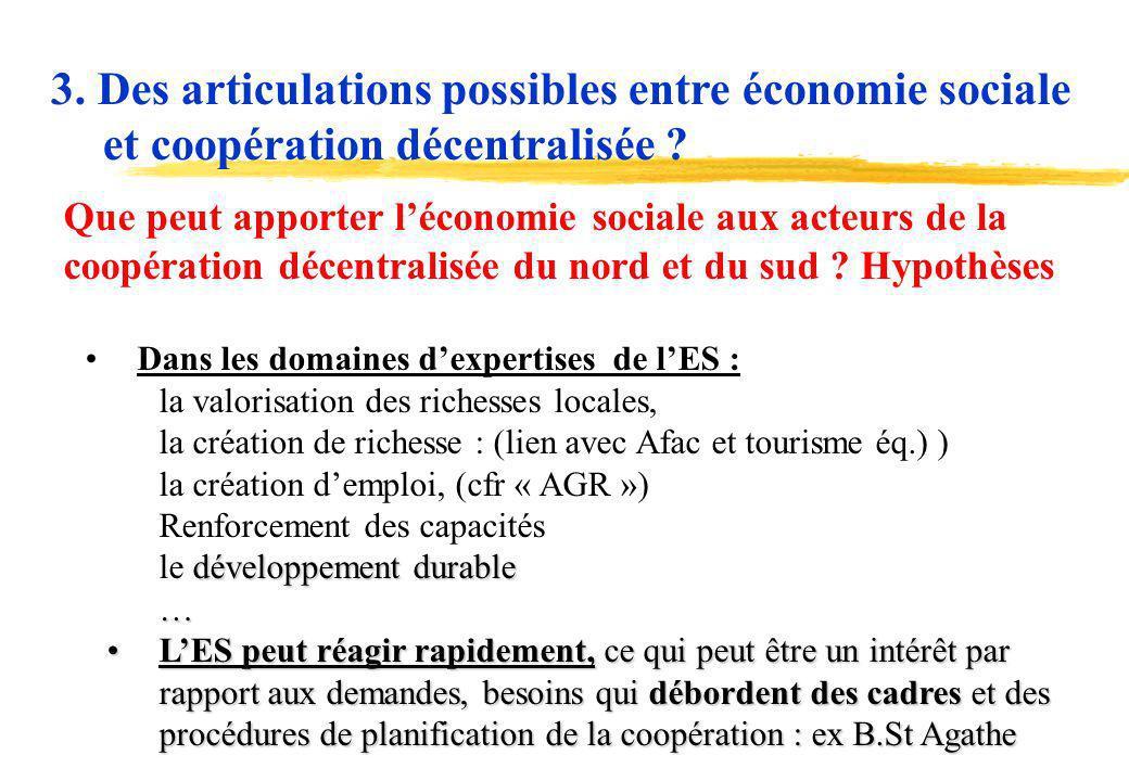 17 Que peut apporter léconomie sociale aux acteurs de la coopération décentralisée du nord et du sud ? Hypothèses Dans les domaines dexpertises de lES