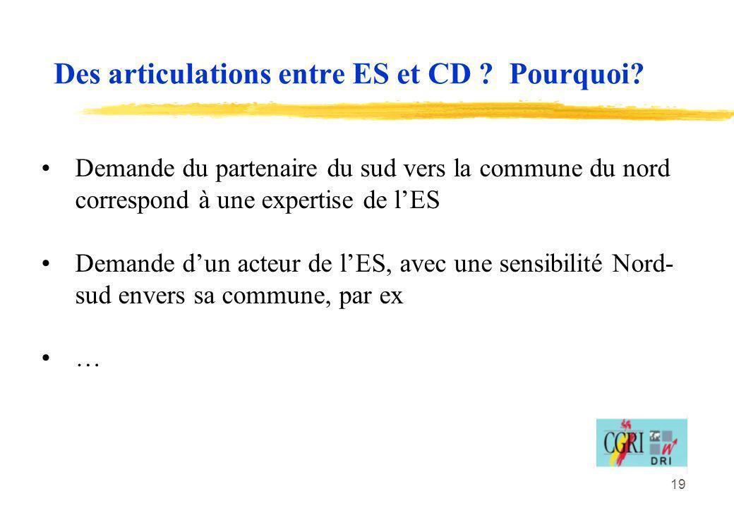 19 Des articulations entre ES et CD ? Pourquoi? Demande du partenaire du sud vers la commune du nord correspond à une expertise de lES Demande dun act