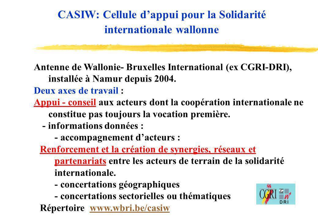 13 Objectifs : aider les acteurs wallons et bruxellois à initier ou renforcer leurs actions de solidarité internationale, encourager les synergies et concertations entre acteurs de la SI, + renforcement mutuel de différents types dintervenants du Nord et du Sud.