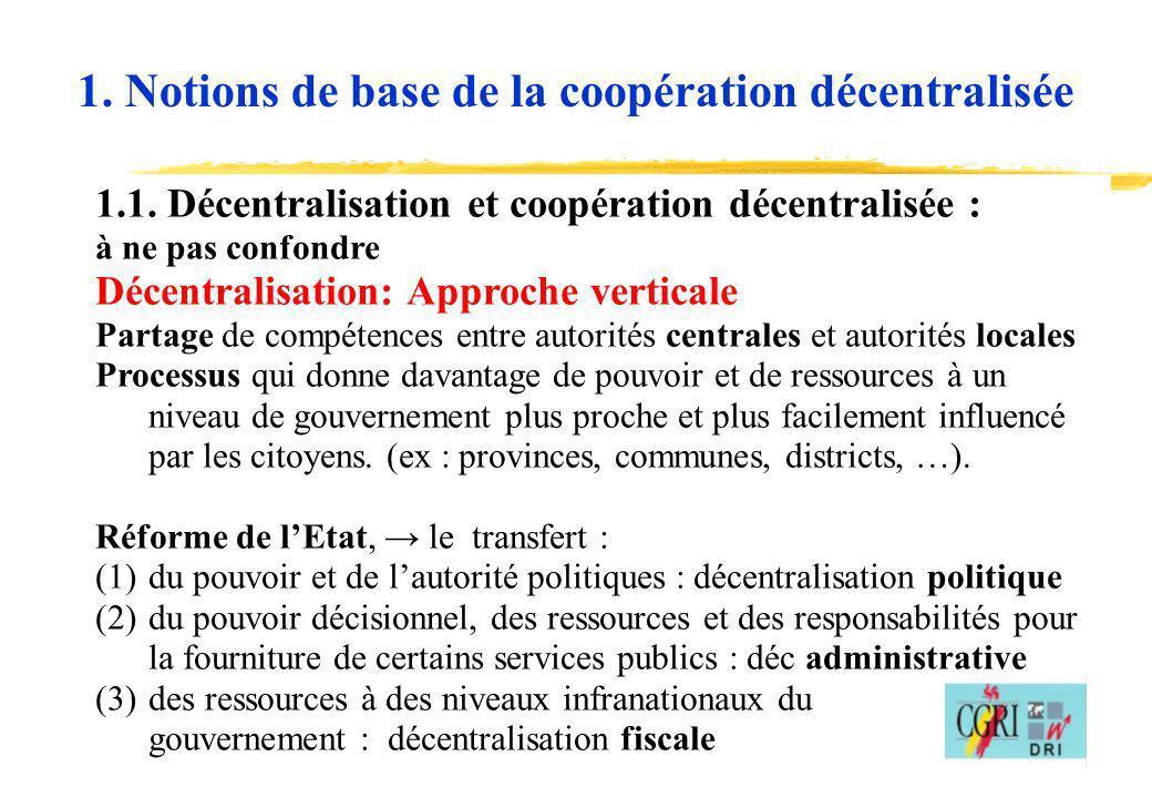 3 1.1. Décentralisation et coopération décentralisée : à ne pas confondre Décentralisation: Approche verticale Partage de compétences entre autorités