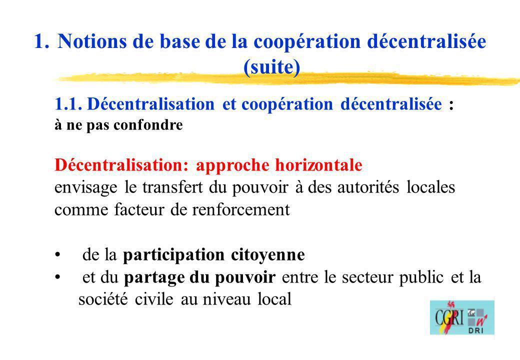 4 1.1. Décentralisation et coopération décentralisée : à ne pas confondre Décentralisation: approche horizontale envisage le transfert du pouvoir à de