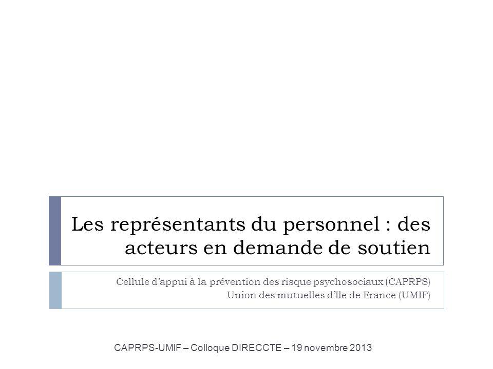 Les représentants du personnel : des acteurs en demande de soutien Cellule dappui à la prévention des risque psychosociaux (CAPRPS) Union des mutuelle