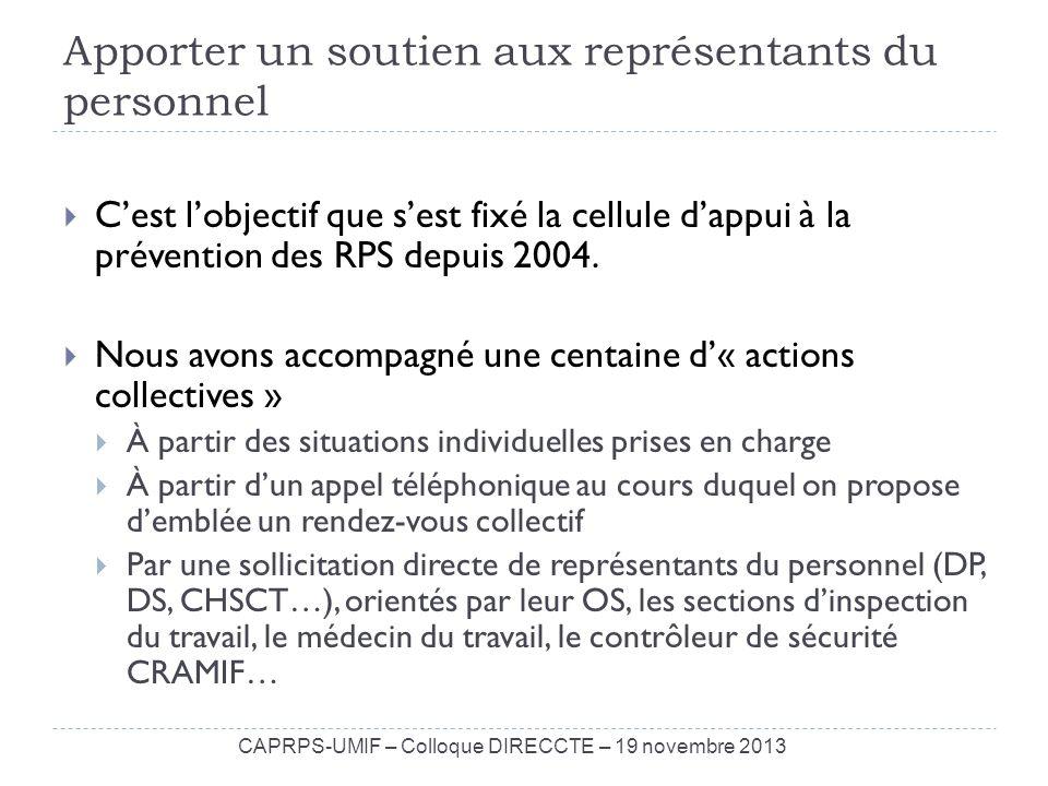 Apporter un soutien aux représentants du personnel Cest lobjectif que sest fixé la cellule dappui à la prévention des RPS depuis 2004. Nous avons acco