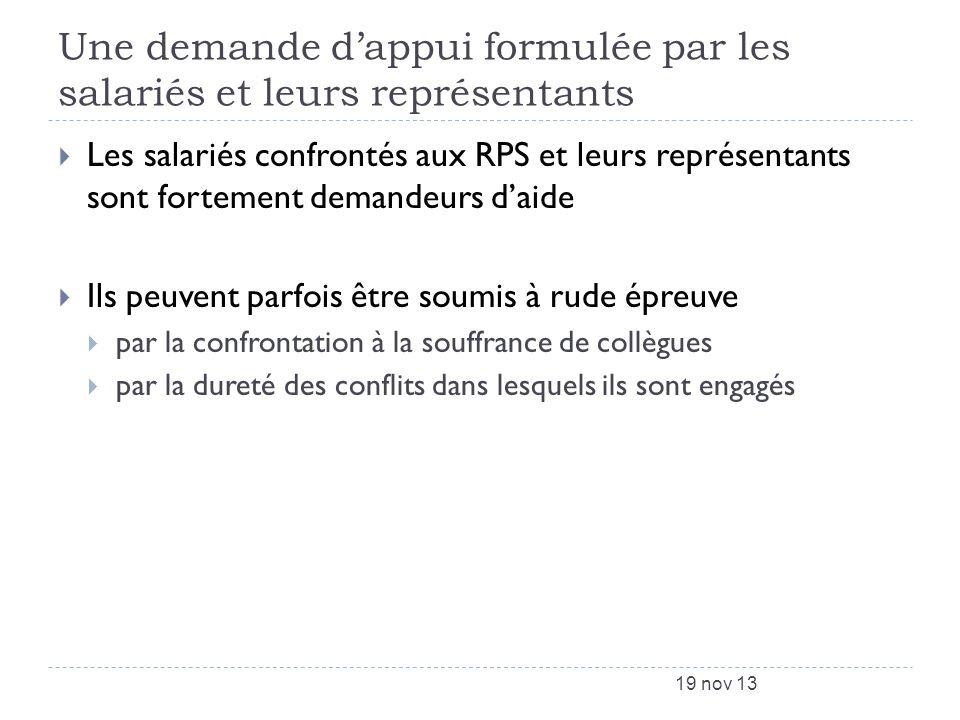 Une demande dappui formulée par les salariés et leurs représentants Les salariés confrontés aux RPS et leurs représentants sont fortement demandeurs d