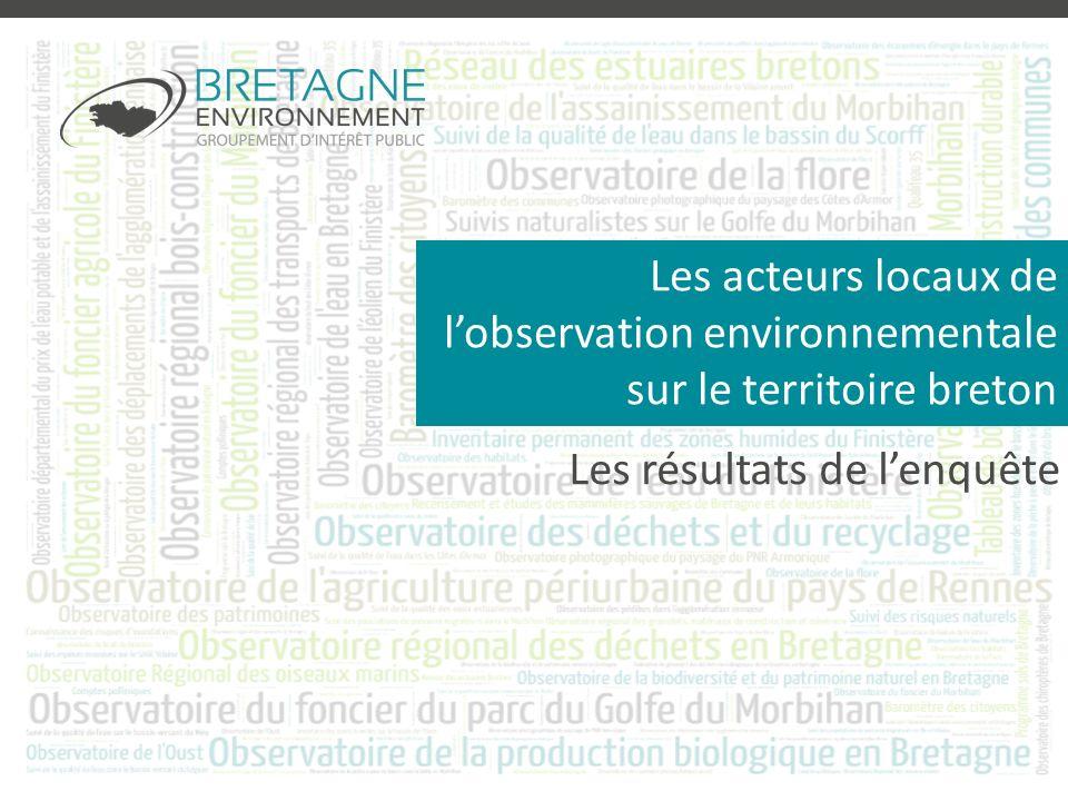Les acteurs locaux de lobservation environnementale sur le territoire breton Les résultats de lenquête