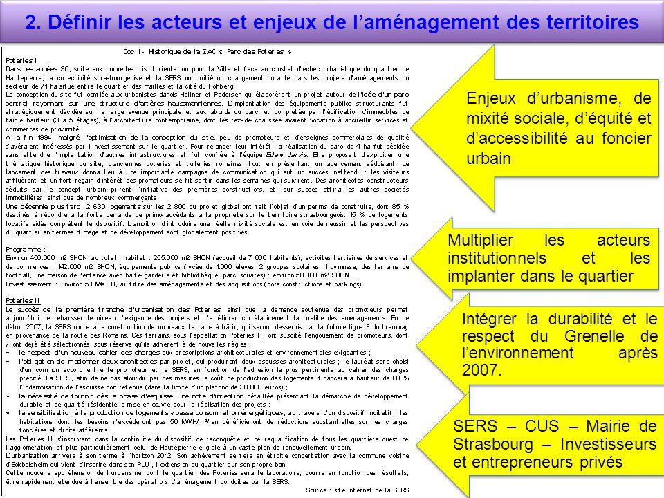 2. Définir les acteurs et enjeux de laménagement des territoires Enjeux durbanisme, de mixité sociale, déquité et daccessibilité au foncier urbain Mul