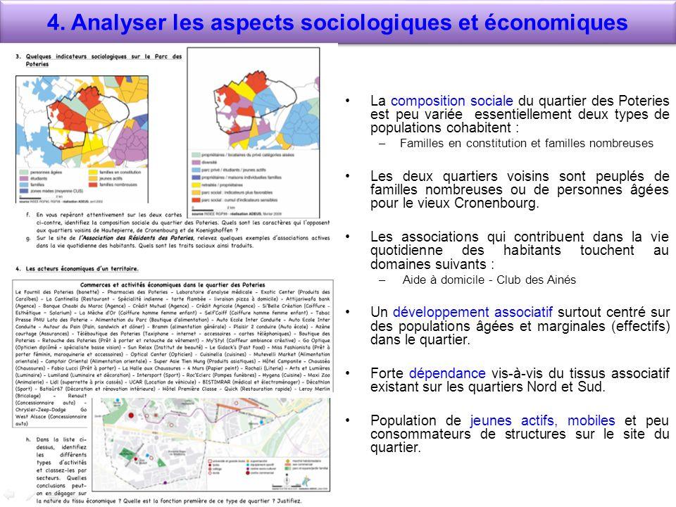 4. Analyser les aspects sociologiques et économiques La composition sociale du quartier des Poteries est peu variée essentiellement deux types de popu