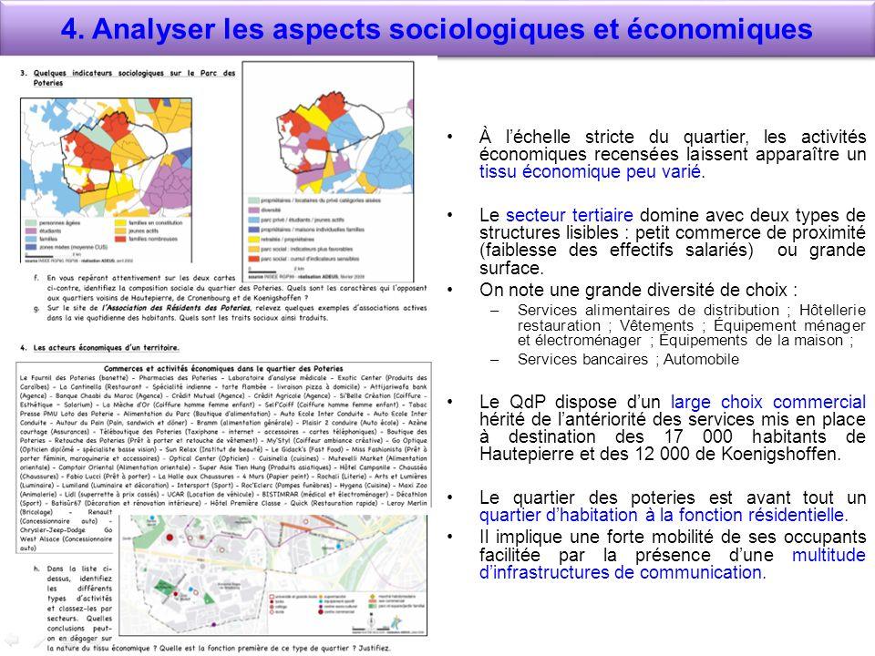 4. Analyser les aspects sociologiques et économiques À léchelle stricte du quartier, les activités économiques recensées laissent apparaître un tissu
