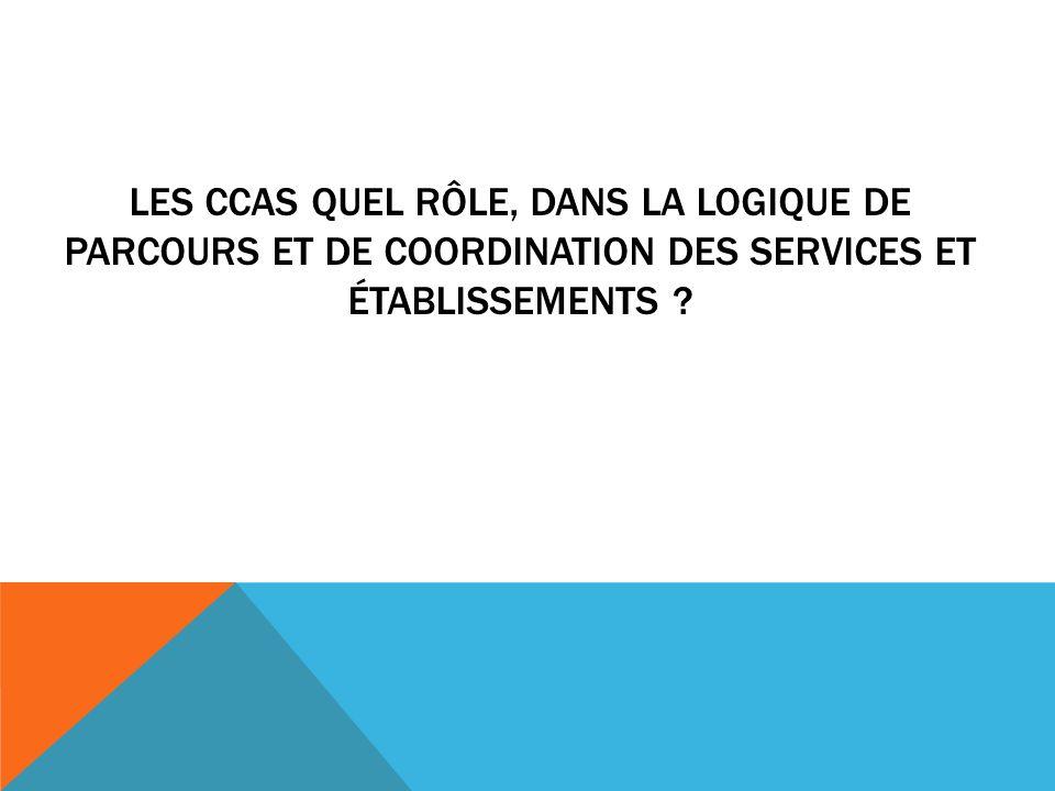 LES CCAS QUEL RÔLE, DANS LA LOGIQUE DE PARCOURS ET DE COORDINATION DES SERVICES ET ÉTABLISSEMENTS ?