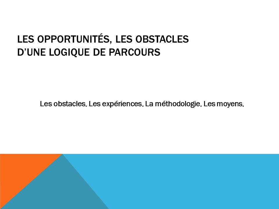 LES OPPORTUNITÉS, LES OBSTACLES DUNE LOGIQUE DE PARCOURS Les obstacles, Les expériences, La méthodologie, Les moyens,