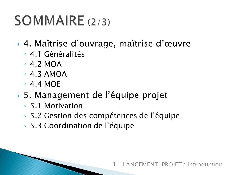 4.Maîtrise douvrage, maîtrise dœuvre 4.1 Généralités 4.2 MOA 4.3 AMOA 4.4 MOE 5.