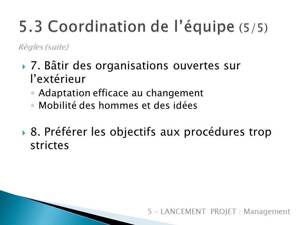 7. Bâtir des organisations ouvertes sur lextérieur Adaptation efficace au changement Mobilité des hommes et des idées 8. Préférer les objectifs aux pr