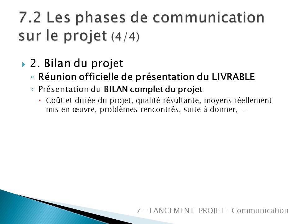 2. Bilan du projet Réunion officielle de présentation du LIVRABLE Présentation du BILAN complet du projet Coût et durée du projet, qualité résultante,