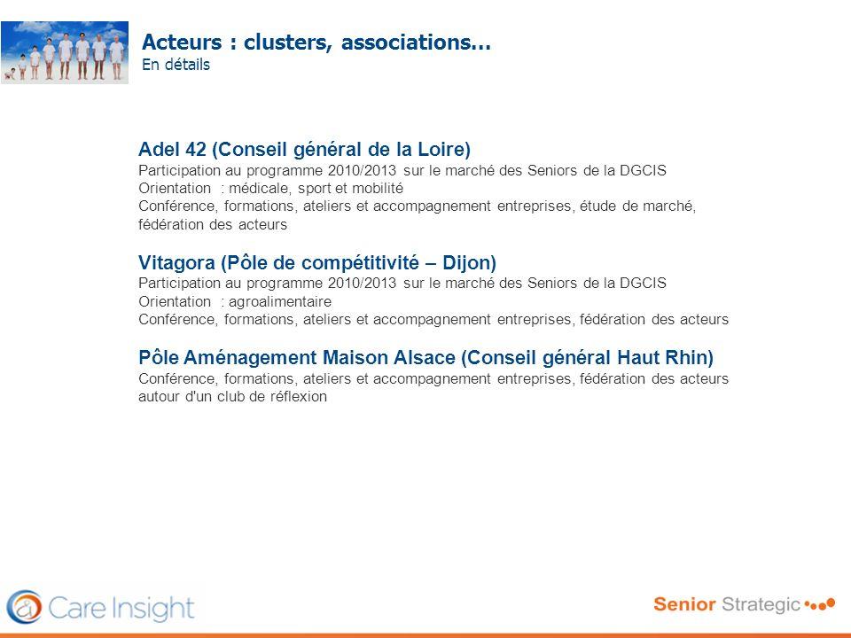 Acteurs : clusters, associations... En détails Frédéric SERRIERE Adel 42 (Conseil général de la Loire) Participation au programme 2010/2013 sur le mar