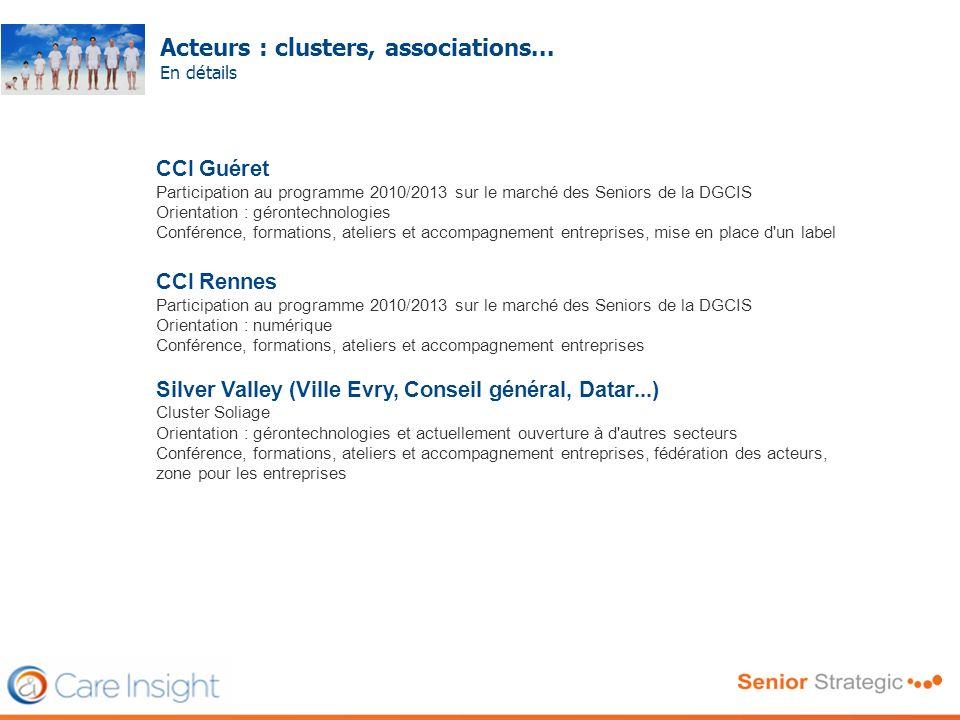 Acteurs : clusters, associations... En détails Frédéric SERRIERE CCI Guéret Participation au programme 2010/2013 sur le marché des Seniors de la DGCIS