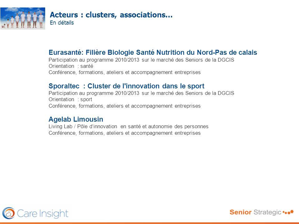 Acteurs : clusters, associations... En détails Frédéric SERRIERE Eurasanté: Filière Biologie Santé Nutrition du Nord-Pas de calais Participation au pr