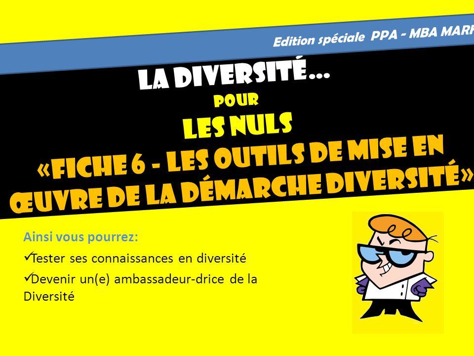 La Diversité… Pour LES NULS «fiche 6 - Les outils de mise en œuvre de la démarche diversité» Ainsi vous pourrez: Tester ses connaissances en diversité