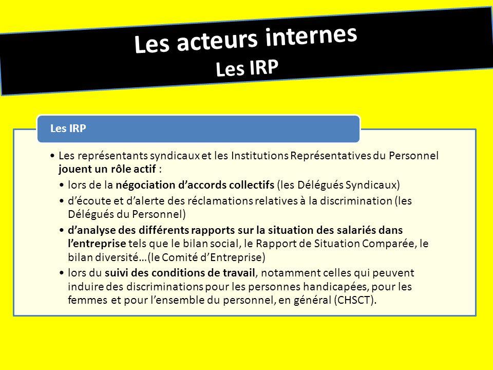 Les acteurs internes Les IRP Les représentants syndicaux et les Institutions Représentatives du Personnel jouent un rôle actif : lors de la négociatio