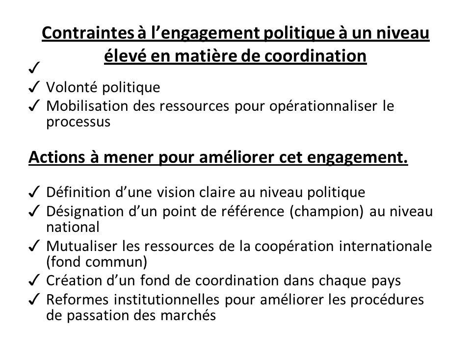 Contraintes à lengagement politique à un niveau élevé en matière de coordination Volonté politique Mobilisation des ressources pour opérationnaliser le processus Actions à mener pour améliorer cet engagement.