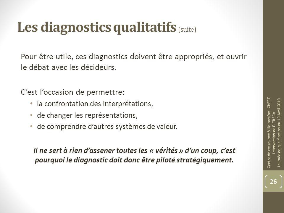 Les diagnostics qualitatifs (suite) Pour être utile, ces diagnostics doivent être appropriés, et ouvrir le débat avec les décideurs. Cest loccasion de