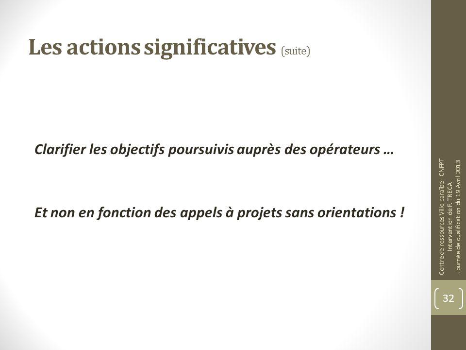 Les actions significatives (suite) Clarifier les objectifs poursuivis auprès des opérateurs … Et non en fonction des appels à projets sans orientation