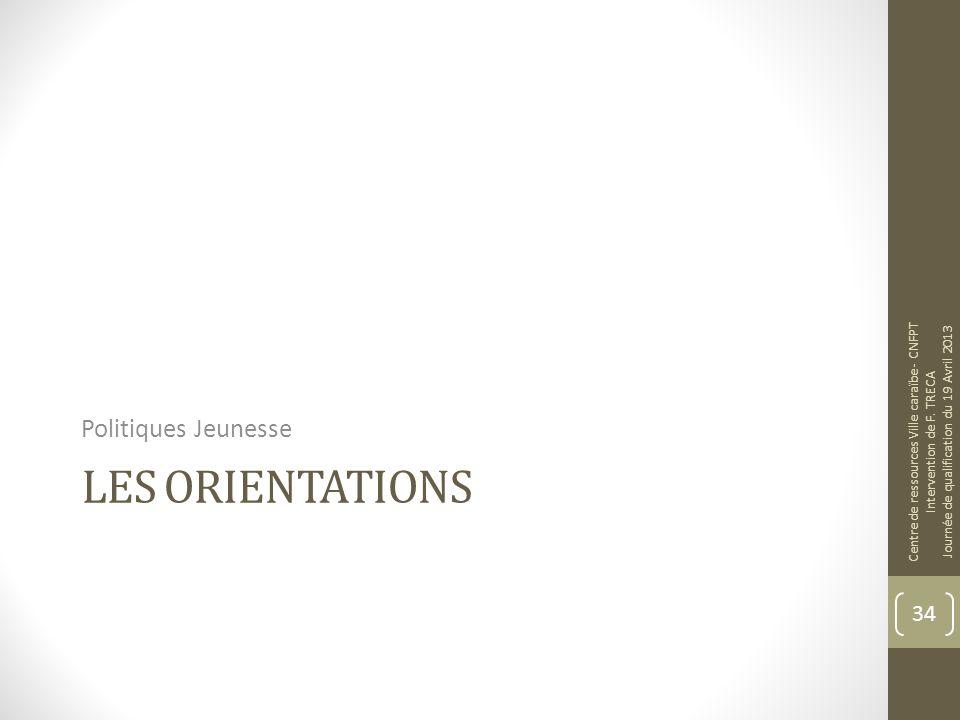 LES ORIENTATIONS Politiques Jeunesse Centre de ressources Ville caraïbe - CNFPT Intervention de F. TRECA Journée de qualification du 19 Avril 2013 34