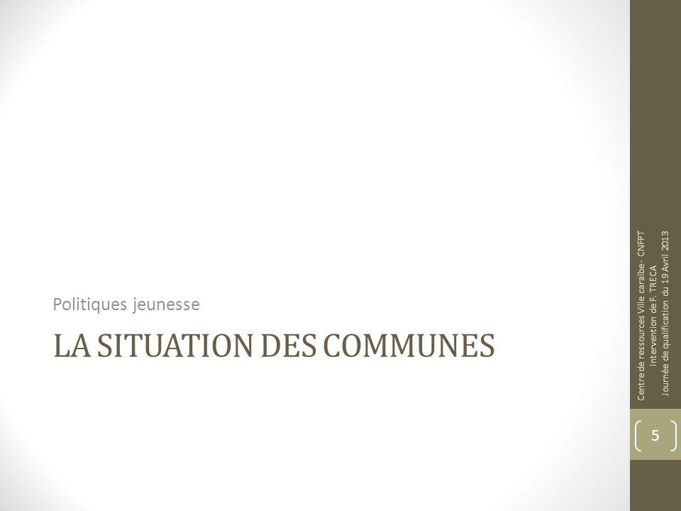 LA SITUATION DES COMMUNES Politiques jeunesse Centre de ressources Ville caraïbe - CNFPT Intervention de F. TRECA Journée de qualification du 19 Avril