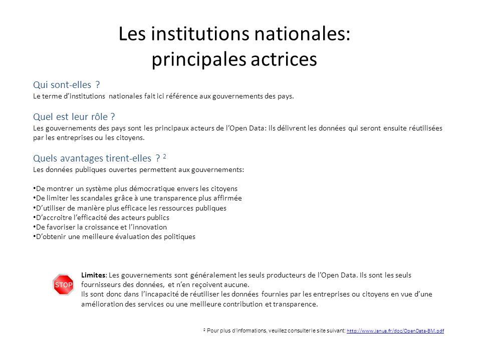 Les institutions nationales: principales actrices Qui sont-elles ? Le terme dinstitutions nationales fait ici référence aux gouvernements des pays. Qu