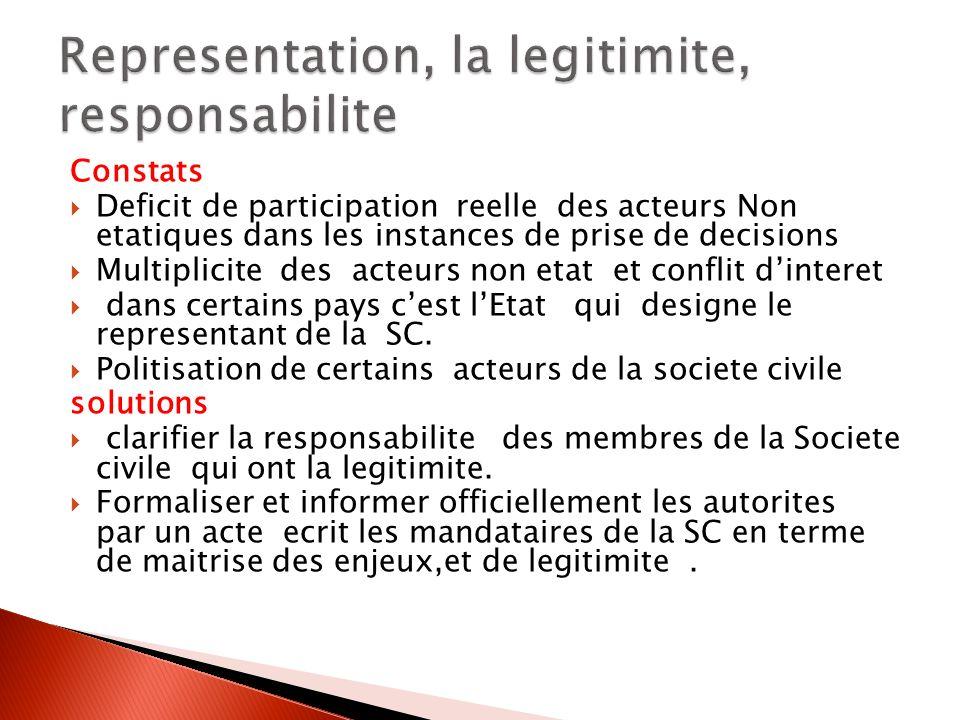 Constats Deficit de participation reelle des acteurs Non etatiques dans les instances de prise de decisions Multiplicite des acteurs non etat et confl