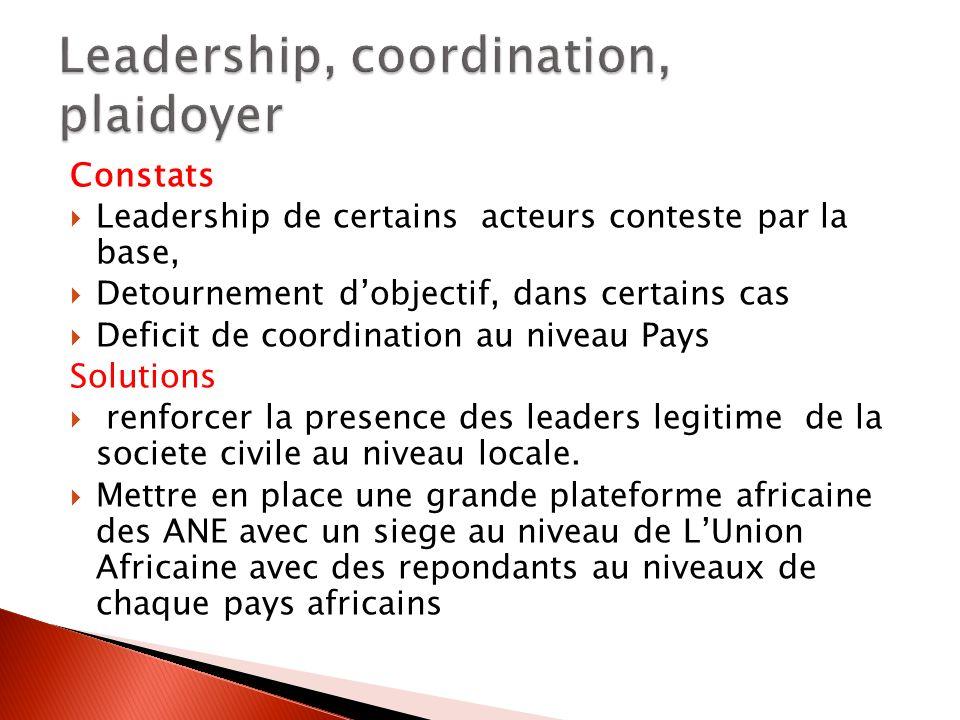 Constats Leadership de certains acteurs conteste par la base, Detournement dobjectif, dans certains cas Deficit de coordination au niveau Pays Solutions renforcer la presence des leaders legitime de la societe civile au niveau locale.
