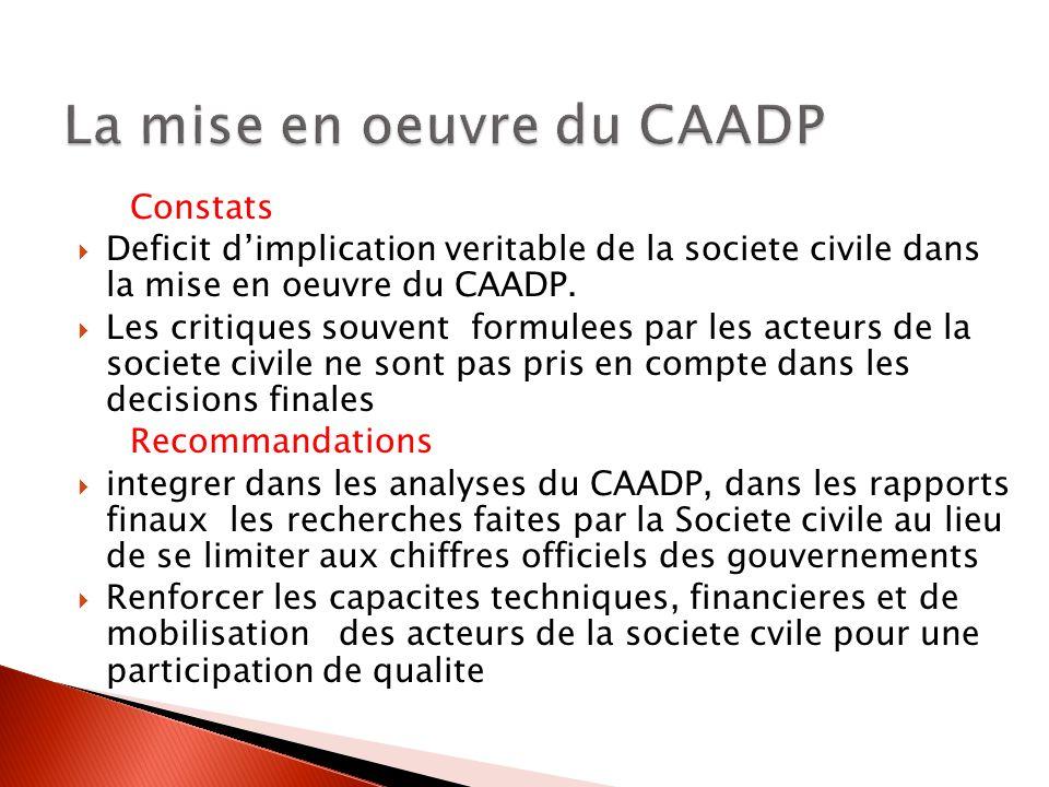 Constats Deficit dimplication veritable de la societe civile dans la mise en oeuvre du CAADP. Les critiques souvent formulees par les acteurs de la so
