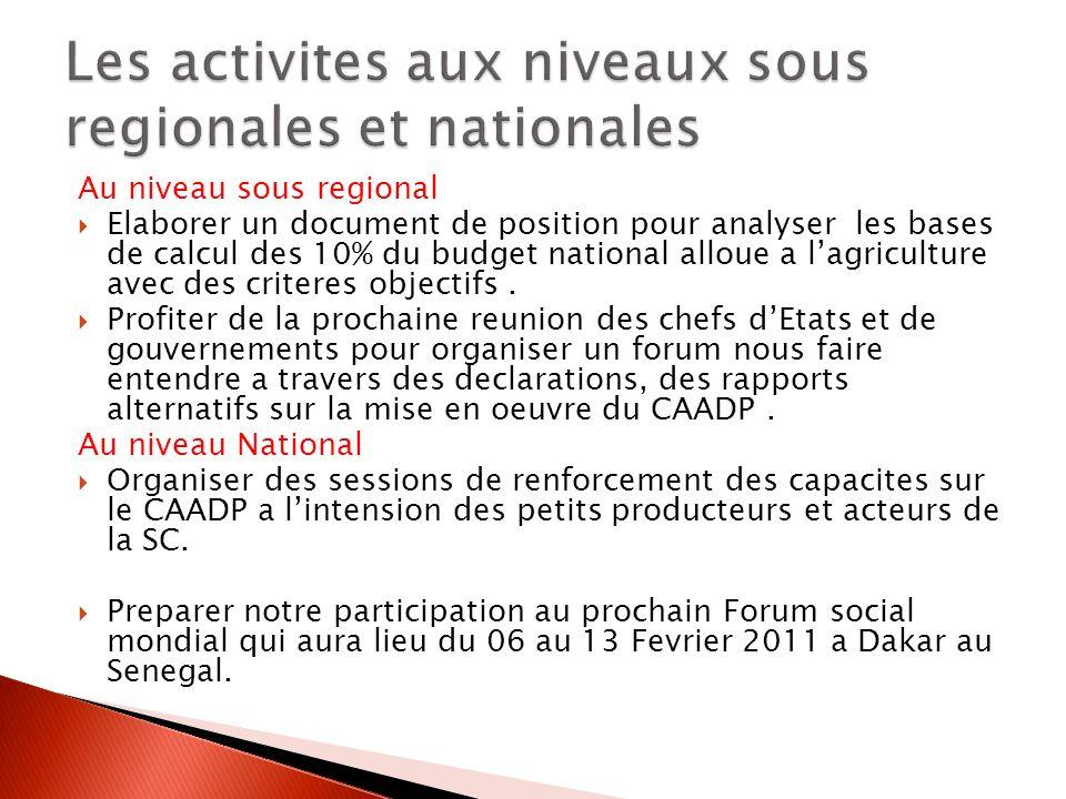 Au niveau sous regional Elaborer un document de position pour analyser les bases de calcul des 10% du budget national alloue a lagriculture avec des criteres objectifs.