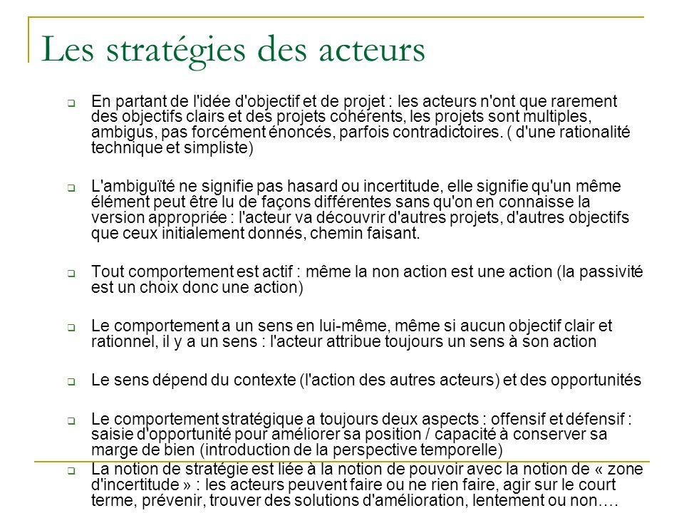 Les stratégies des acteurs En partant de l'idée d'objectif et de projet : les acteurs n'ont que rarement des objectifs clairs et des projets cohérents