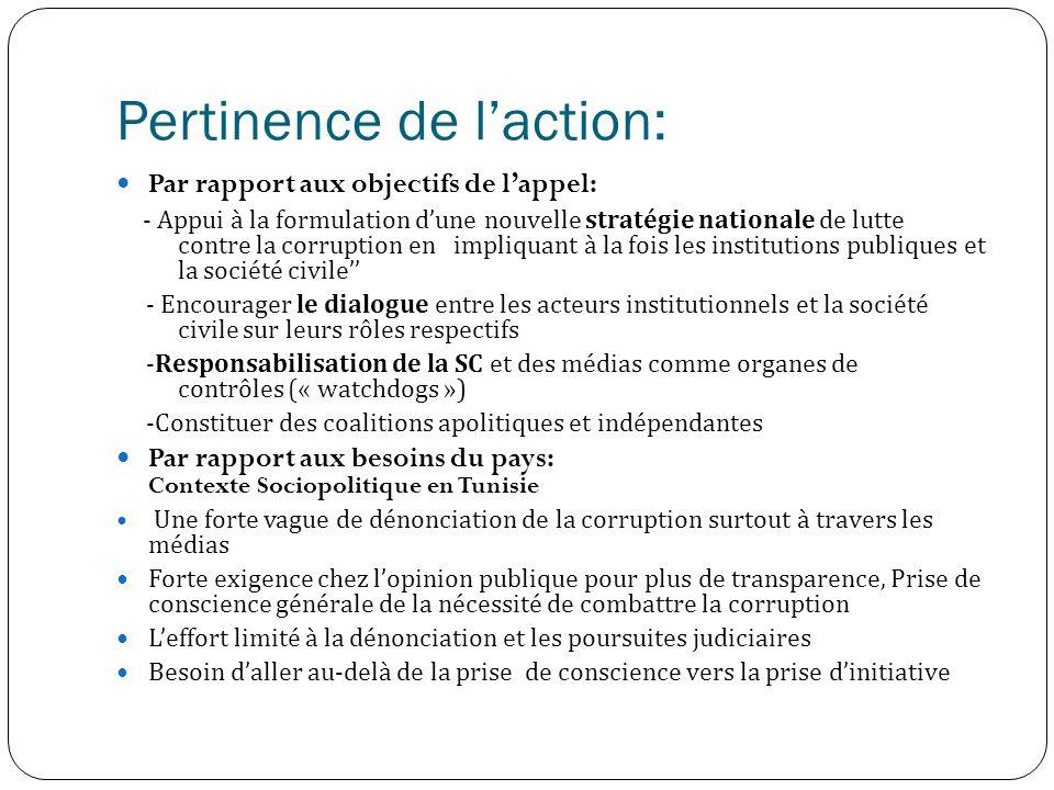 Pertinence de laction: Par rapport aux objectifs de lappel: - Appui à la formulation dune nouvelle stratégie nationale de lutte contre la corruption en impliquant à la fois les institutions publiques et la société civile - Encourager le dialogue entre les acteurs institutionnels et la société civile sur leurs rôles respectifs -Responsabilisation de la SC et des médias comme organes de contrôles (« watchdogs ») -Constituer des coalitions apolitiques et indépendantes Par rapport aux besoins du pays: Contexte Sociopolitique en Tunisie Une forte vague de dénonciation de la corruption surtout à travers les médias Forte exigence chez lopinion publique pour plus de transparence, Prise de conscience générale de la nécessité de combattre la corruption Leffort limité à la dénonciation et les poursuites judiciaires Besoin daller au-delà de la prise de conscience vers la prise dinitiative