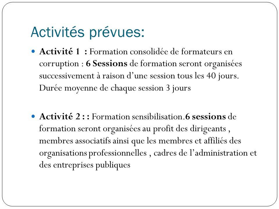 Activités prévues: Activité 1 : Formation consolidée de formateurs en corruption : 6 Sessions de formation seront organisées successivement à raison dune session tous les 40 jours.